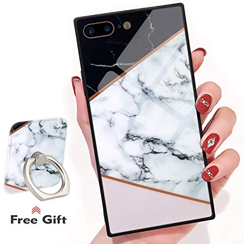 Bitobe iPhone 7 Plus iPhone 8 Plus Square Edges Case mit Handy Ring Stand Grip Holder Soft TPU Slim Square Case iPhone 7 Plus Phone Cover iPhone 8 Plus 5.5 Zoll, Black White Marble Design - Soft-grip-stand