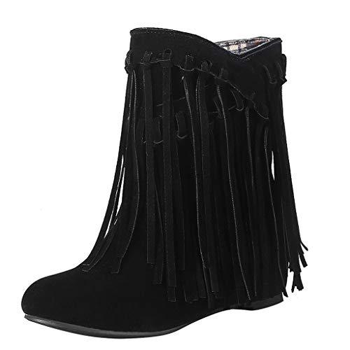 Vovotrade_scarpa Moda Stivaletti Scarponcini Stivali con Le Frange Donna F