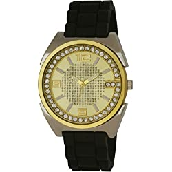 Men'Henley Damen Armbanduhr Analog Gold Zifferblatt Analog-Anzeige und Schwarz-Silikon-Bügel H02043.2,