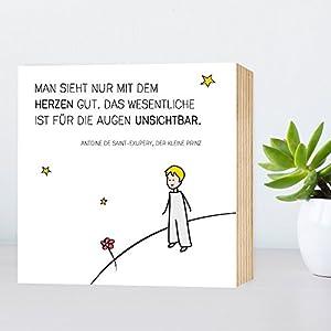 Der kleine Prinz - Holzbild 15x15x2cm zum Hinstellen und Aufhängen, echter Fotodruck mit Spruch auf Holz - schwarz-weißes...