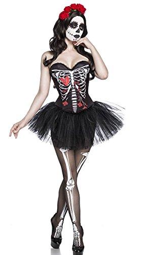 Damen Knochen Frau Fantasy Kostüm Skelett Verkleidung aus Corsage, Tutu, Haarreifen und Strümpfe Push Up in weiß schwarz Totenkopf Knochen (Frau Kostüm Voodoo)
