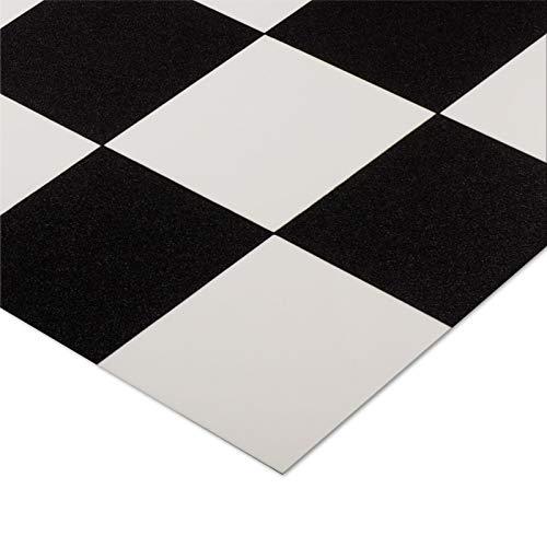 casa purau00ae CV Bodenbelag Damier | Schwarz Weiß kariert | edle Fliesenoptik | Oberfläche strukturiert | Meterware (200x150cm)