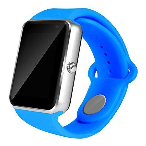 AIYIBEN U7 Bluetooth Touch Screen Bluetooth 3.0 Smart orologio da polso orologio telefono Watch compatibile con iPhone Samsung Sony LG HTC e molto altro ancora (Blue)