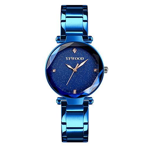 Damenuhr, modische Luxusarmbanduhren für Frauen, Business-Kleid, lässig, wasserdicht, Quarzuhrwerk, mit Edelstahl-Netzband und schönem Sternenhimmel-Zifferblatt für Geschenke (blau) - Damen Kleidung : Uhren Blau