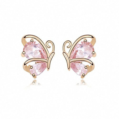 TAOTAOHAS elementi di swarovski austriaco cristallo orecchini della vite prigioniera [ farfalla danza, zirconia rosaline ], 18KGP