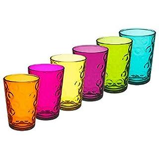 amara-global 6er Trinkgläser Buntes Glas 200 ml Wassergläser Limogläser Longdrinkgläser GFY-