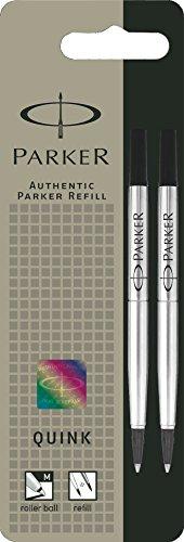 Preisvergleich Produktbild Parker S0881470 Ersatzminen Quink (für Tintenroller, mittlere Strichbreite, schwarze Tinte, 2er-Pack)