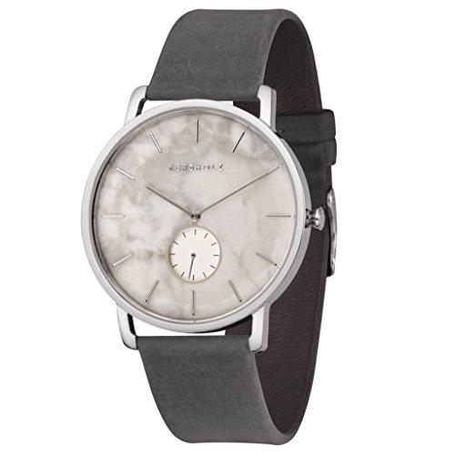 Kerbholz Armbanduhr Fritz Silver White Marble Asphalt