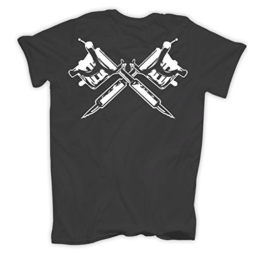 Männer und Herren T-Shirt Du hast ein Tattoo ICH BIN TÄTOWIERT (mit Rückendruck) Aschgrau