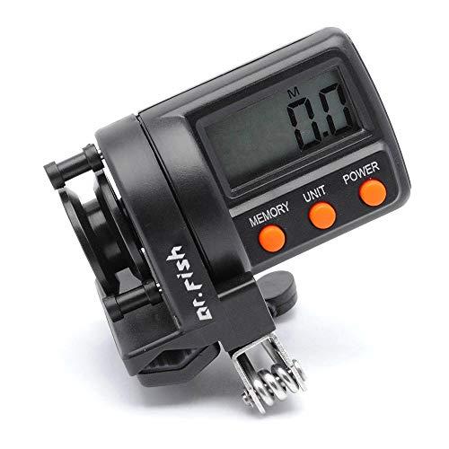 Angelschnur-Zähler von Dr.Fish - Digital, zum Anklippen, Tiefenmesser bis 304,5 m, 10 Datengruppen, Schleppangeln, Jiggen, um 180 Grad 2-Wege-verstellbarer LED-Bildschirm