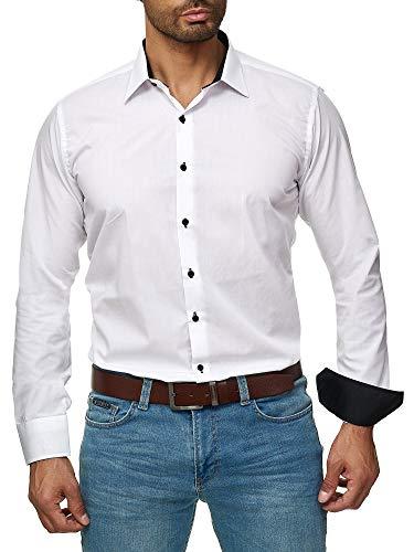- Kragen, Ab Schulter Baumwolle (J'S FASHION Herren-Hemd - Slim Fit - Bügelleicht - Langarm-Hemd für Business Freizeit Hochzeit - Weiß - K - L)
