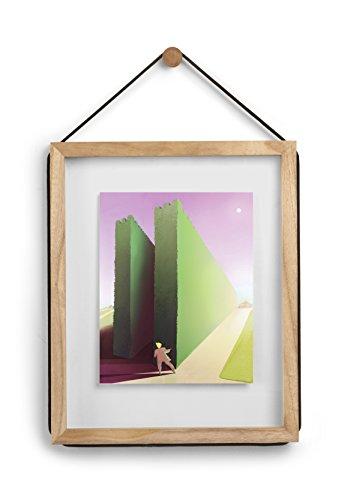 UMBRA Corda. Cadre à Photo entre deux verres Corda, en bois naturel, suspendu par une corde noire, dimension cadre 31.8x38.7x1.9cm