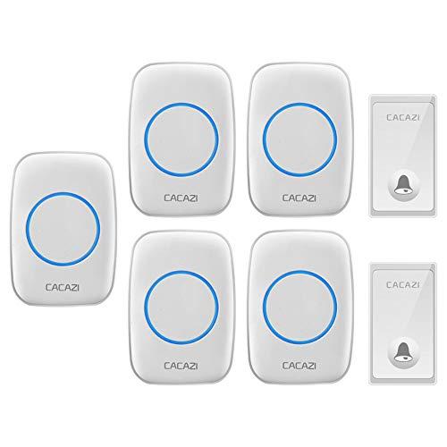 BESTSUGER Drahtlose Doorbell, Doorbell Chime Alert System, 2 Sender und 5 Receiver mit 58 Ringtönen, Keine Batterien für Empfänger erforderlich,White - Chime Sender