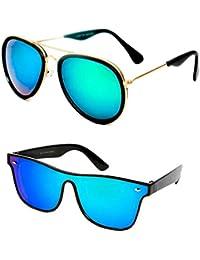 42d28e2bf27 Mr. Brand Combo UV Protected Mirror Green Aviator and Wayfarer Sunglasses  for Men and Women