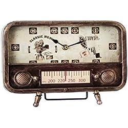 Reloj Decorativo Radio Vintage Metal Cristal (Rojo)