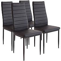 Albatros Milano - Set de 4 sillas de Comedor, Estructura metálica y Piel sintética, Estilo Italiano, Negro (2551)