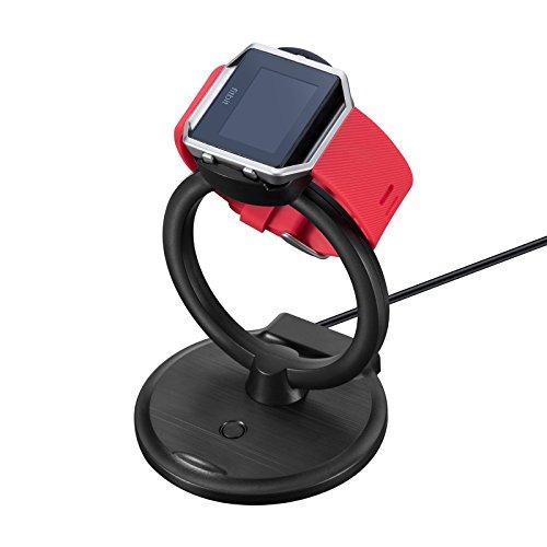 Fitbit Blaze USB Ladegerät Ladestation, iFeeker 2 in 1 Ladestation Unterstützung für Fitbit Blaze Armband und Universal Handy, schwarz