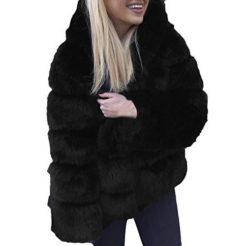 Chaink_1 2019 - giacca da donna con cappuccio, in finta pelliccia di visone, stile classico, casual, con cappuccio, per inverno e autunno nero xl