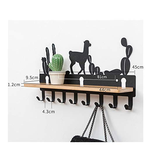 Heavy Duty Wall Mounted Hanger Clothes Hook with 6 / 8hooks - Storage for Jackets Hats Robes Towels Keys Black/Gungle 48x26.5x6cm