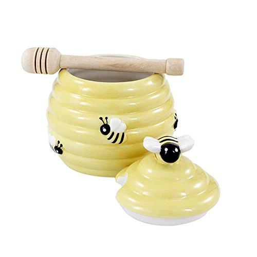 Honigtopf Bienenkorb Keramik mit Honigspender Holz