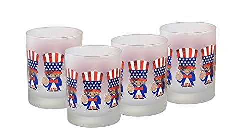 Culver Uncle Sam USA DOF Double Old Fashion Glass (Set of 4), 14 oz, Red White Frost Blue