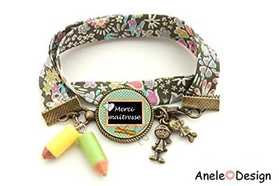 Bracelet pour la maîtresse - Merci Maîtresse - crayon jaune vert - liberty garçon fille école récré cadeau maîtresse