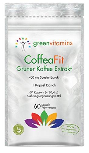 Grüner Kaffee Kapseln - CoffeaFit. Fettverbrenner mit green coffee Extrakt. Endlich abnehmen mit Chlorogensäure für eine gesunde Gewichtsreduktion! Die gruene Kaffeebohnen in einer kleinen Kapsel - 60 Kapseln von greenvitamins
