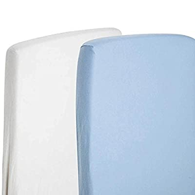 2x Toddler Bed/Junior Bed 100% Cotton Jersey Fitted Sheet 140x70cm White & Blue