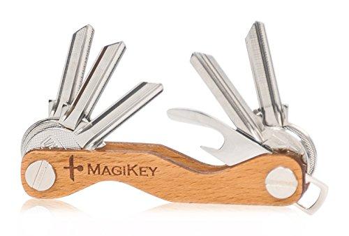 Organizer Schlüsselanhänger MagiKey aus Holz, Smart Key, 1 bis 14 Schlüssel, Original Design Smart Key Schlüsselanhänger, SIM- und Karabiner-Auswerferwerkzeug