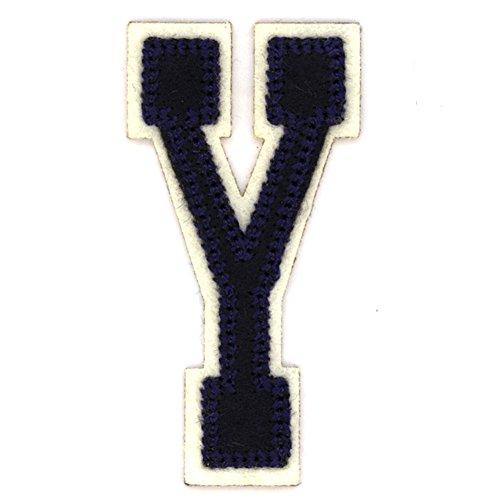 Alphabetbuchstaben nach Uniauswahl Art: blaue Aufbügelapplikation Buchstabe Y (Stoff Eisen-auf Buchstaben-patches)