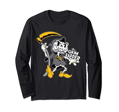 Grim Rapper Lustige Grim Reaper Sense Gruselig Skull Langarmshirt (Jungen Rapper Kostüm)