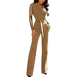 Femme Combinaison Taille Haute - Sunenjoy Jumpsuit Combishort avec Ceinture Bodysuit Manches Longues Col V Tunique Pantalon Large Jambe Chic Skinny Slim Party Cocktail Soirée (M, Kaki)