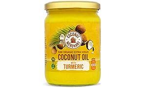 Aceite de coco orgánico con cúrcuma 500 ml Coconut Merchant | Virgen Extra, Crudo, prensado en frío, sin refinar | Producido de forma Ética, Vegano, dieta Keto y 100% Natural Para Cocinar, 500ml