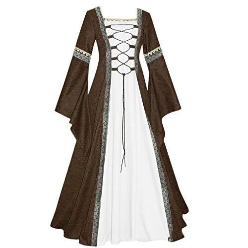 SALUCIA Damen Mittelalter Kleid Bodenlanges Vintage Kostüm Gothic Renaissance Glockenärmel Hexenkostüm Viktorianisches Prinzessin Lange Kleider für Festliche Party Karneval Große Größen Gr.34-48