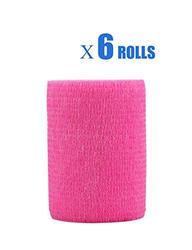 Risscly Rosa 7.5cm cohesive Bandage,selbsthaftende fixierbinde verband bandage mullbinden selbsthaftend bandagen 6 Rollen