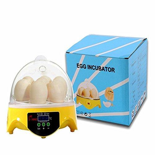 ele ELEOPTION Eier Inkubator 7 Eier Automatische Brutmaschine Brutkasten Brutapparat 220V Hühner LCD Temperaturanzeige (7 Eier Inkubatoren)
