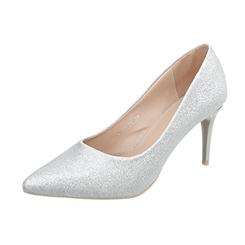 Ital-Design High Heel Pumps Damen-Schuhe High Heel Pumps Pfennig-/Stilettoabsatz High Heels Pumps Silber, Gr 36, 5015-24-