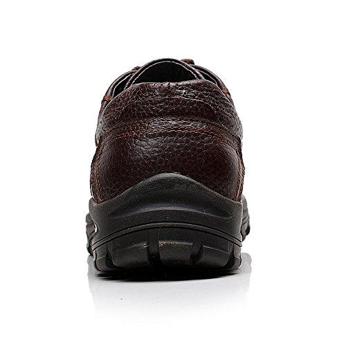 Rismart Hommes De Plein Air Lacer Plate-forme Baskets Réal Cuir de Vache Traverser Chaussures de Sport Marron