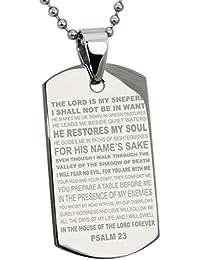 Acero Inoxidable Salmos 23 Versículo de la Biblia Placa de Identificación del Colgante