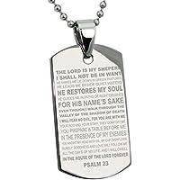 Acciaio Inossidabile Salmi 23 Versetto della Bibbia Medaglietta di Riconoscimento Pendente (con Personale