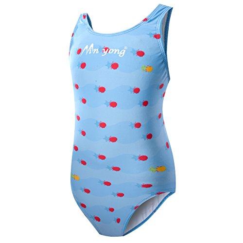 HYSENM Kinder Mädchen Schwimmanzug Badenmode Badeanzug Einteiler one Piece (eine oder Zwei Größe großer) (Blau, 140cm)