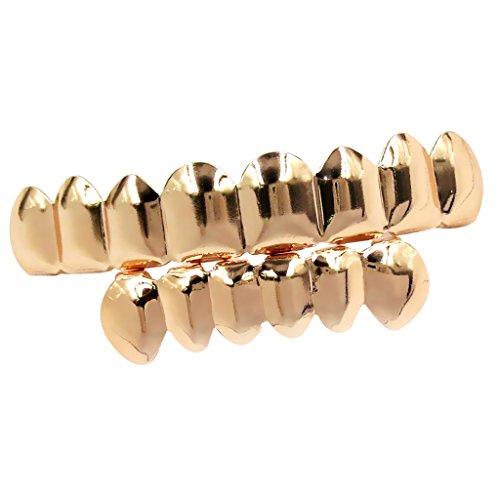 Baoblaze Untere & Obere inkl. Modellierelemente -Zahn Schmuck -Party Schmuck Überzogen mit 18 karat Goldton - Rose Gold (Gold Grill Rose)