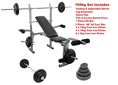 IQI FITNESS Weight Training set Folding & Adjustable Bench
