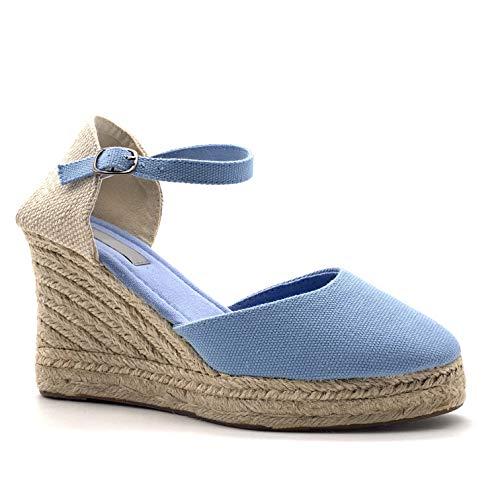 Angkorly - Damen Schuhe Sandalen Espadrilles - Folk/Ethnisch - Böhmen - romantisch - mit Stroh - Geflochten - Basic Keilabsatz high Heel 9 cm - Blau 787-5 T 36 - Canvas-high-heel-sandalen