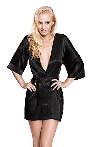 CAMILLE – Sexy Robe de Chambre - Kimono - à partir de la collection de Sophie Bernard. Sentir à l'aise! Noir