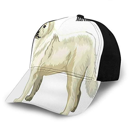 Adjustable Snapback Baseball Cap Portrait Standing Dog Maremma Sheepdog Colorful
