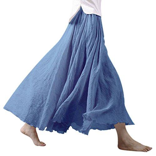 Nlife Frauen böhmische Baumwolle Leinen Double Layer elastische Taille langen Langer RockMaxi Rock- Gr. 95CM, Niagara (Länge Rock Volle Damen)