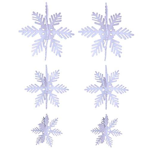 6PCS Foam Schneeflocken weiß Weihnachtsschmuck Xmas Tree zum Aufhängen Anhänger Ornaments
