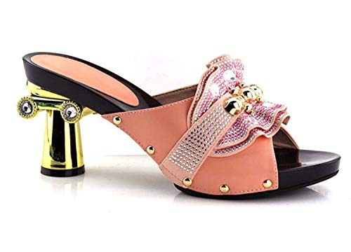 Shoes Woman High Heel Designer Shoes Women Luxury 2019 Slip on Women Shoes Decorated with Rhinestone Wedding Shoes for Wome Pink 39 - Womens Designer-bermuda