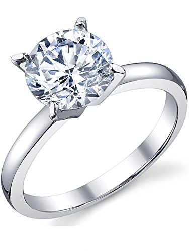 Ultimate Metals Co. 2 Carat Round Brilliant Cubic Zirconia CZ Sterling Silver 925 Wedding Engagement Ring Size O